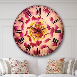 Designart 'Smooth White Rose Flower Petals' Floral Large Wall CLock