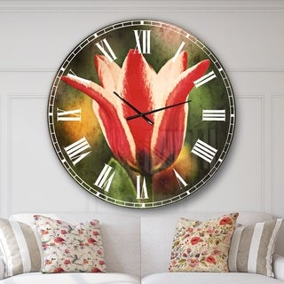 Designart 'Large Tulips on Green Background' Flower Large Wall CLock