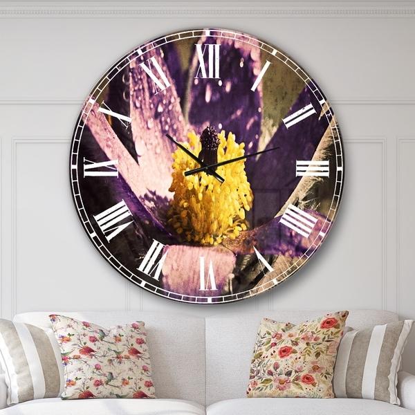 Designart 'Purple Flower with Yellow Stigma' Floral Large Wall CLock