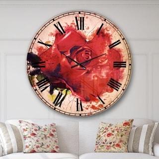 Designart 'Beautiful Bright Red Rose' Floral Wall CLock