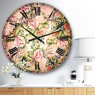 Designart 'Pink Flower Pattern on White' Floral Wall CLock
