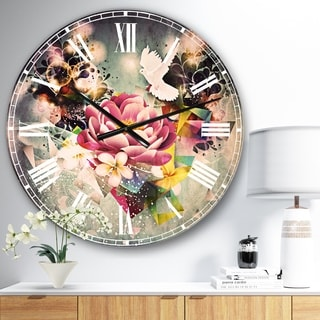 Designart 'Flowers and Dove Abstract Design' Floral Large Wall CLock