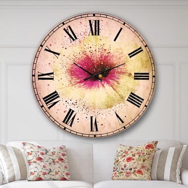 Designart 'Colorful Gentiana Alpina Watercolor' Floral Wall CLock