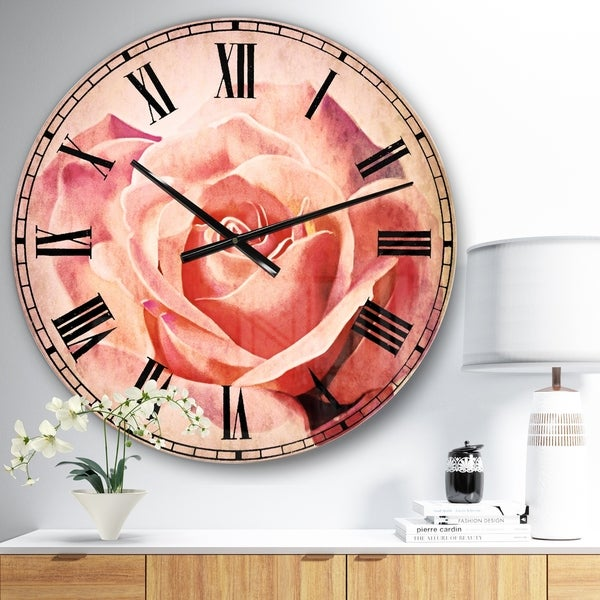 Designart 'Pink Rose Sketch on White Background' Flowers Wall CLock