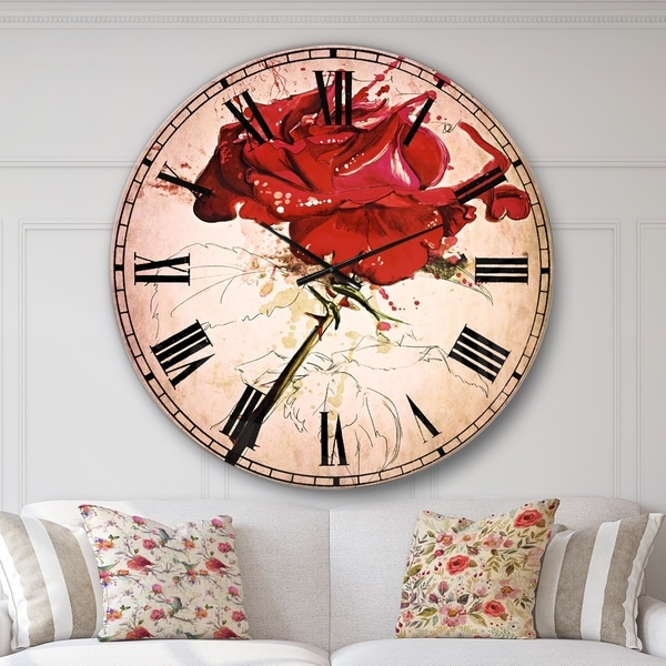 Designart 'Rose Sketch with Stem on White' Flower Large Wall CLock