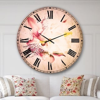 Designart 'Pink Rose Watercolor Illustration' Floral Wall CLock