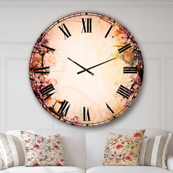 Designart 'Pink Sakura on Blurred Background' Floral Large Wall CLock