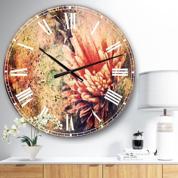 Designart 'Grunge Art with Flower and Splashes' Flower Wall CLock