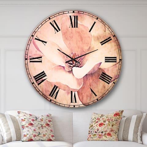 Designart 'Cute Light Pink Magnolia Flower' Flowers Large Wall CLock