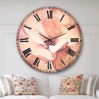 Designart 'Cute Light Pink Magnolia Flower' Flowers Large Wall CLock