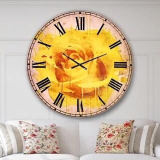 Designart 'Beautiful Rose in Yellow Watercolor' Floral Wall CLock