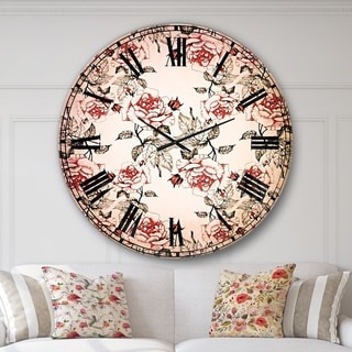 Designart 'Seamless pattern with red roses' Floral Oversized Wall CLock