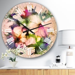 Designart 'Watercolor Floral Bouquet' Floral Large Wall CLock