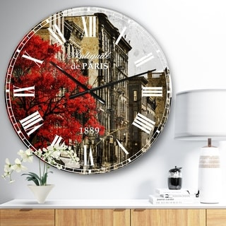 Designart 'Red Tree on Black and White New York City Street' Floral Cityscapes Large Wall CLock