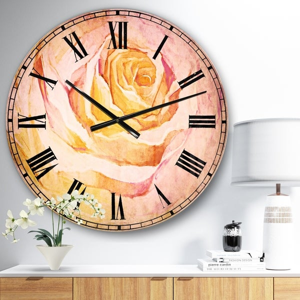 Designart 'White Rose Petal' Floral Oversized Wall CLock