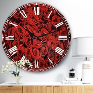 Designart 'Winter Red Rose' Floral Oversized Wall CLock