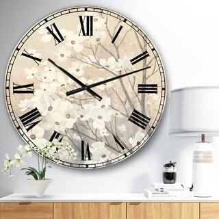 Porch & Den 'Brown onn Grey Blossoms' Metal Clock