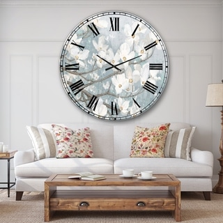 Designart 'Blue on Grey Blossoms ' Traditional Large Wall CLock