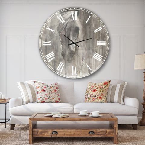 Designart 'Farmhouse Horse' Modern Farmhouse Large Wall CLock
