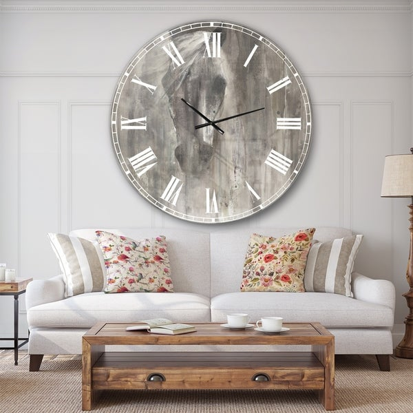 Designart 'Farmhouse Horse' Modern Farmhouse Large Wall CLock. Opens flyout.