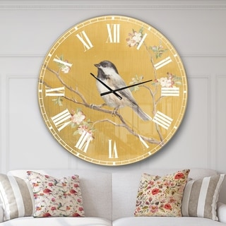 Designart 'Gold Bird on Blossoms IV' Farmhouse Large Wall CLock