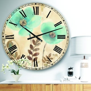 Designart 'Blue Poppies Cottage Flowers I' Farmhouse Wall CLock