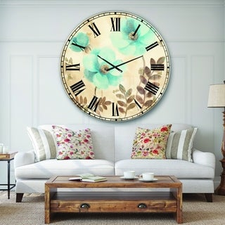 Designart 'Blue Poppies Cottage Flowers II' Farmhouse Large Wall CLock
