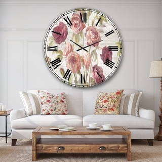 Designart 'French Roses I' Farmhouse Large Wall CLock