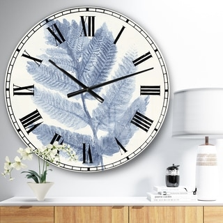 Designart 'Forest Ferns Blue' Cottage Large Wall CLock