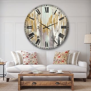 The Gray Barn Jartop 'Silver and Yellow Birch Forest II' Oversized Metal Clock