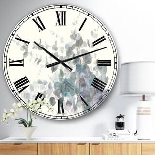 Designart 'Grey Watercolor Flower II' Traditional Wall CLock