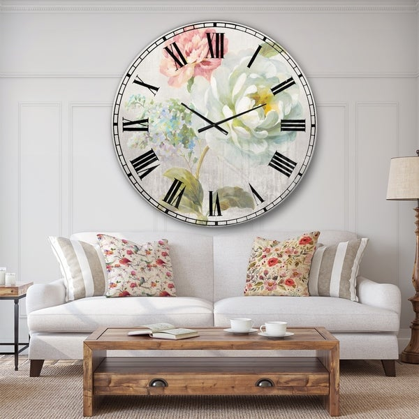Designart 'Country Flower Bouquet' Cabin & Lodge Wall CLock