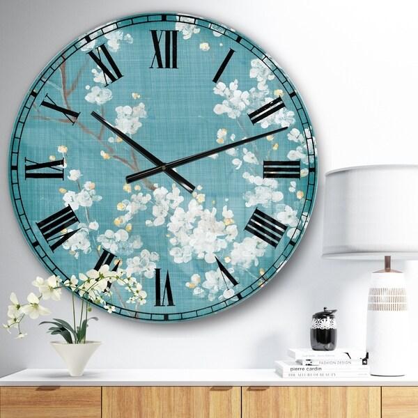 Designart 'Blue Cherry Blossoms I' Cabin & Lodge Wall CLock