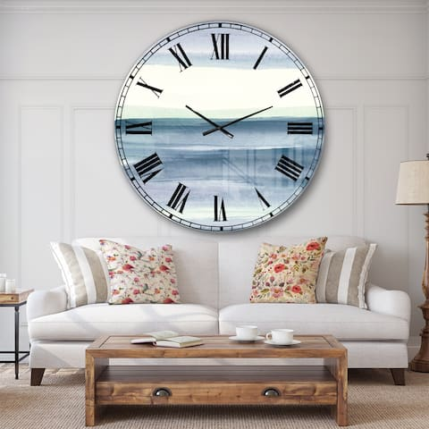 Porch & Den Mint Indigo Dawn I' Farmhouse Oversized Metal Clock