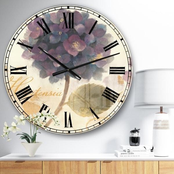 Designart 'Abundant Hydrangea Flower I' Floral Cottage Large Wall CLock