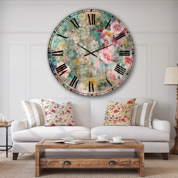 Designart 'Flower Shower III' Farmhouse Large Wall CLock