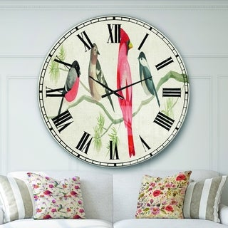 Designart 'Chickadee And Red Farmhouse Bird on Branch' Modern Farmhouse Large Wall CLock