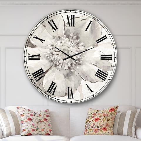 Designart 'Indigold Grey Peonies III' Farmhouse Large Wall CLock