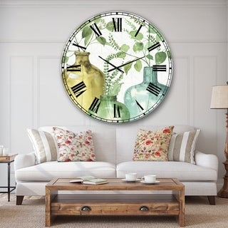 Designart 'Mixed Botanical Green Leaves IX' Cottage Large Wall CLock