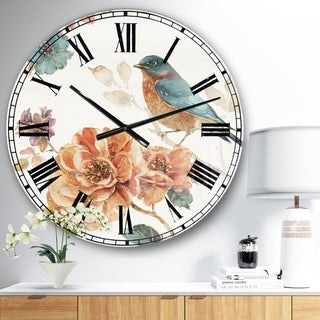 Designart 'Cottage Bird on Orange Flower Twig' Traditional Wall CLock