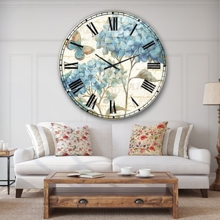 Designart 'butterfly Blue Garden II' Farmhouse Large Wall CLock
