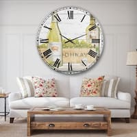 Designart 'White Chardonnay Wine Bottles' Food and Beverage Oversized Wall CLock