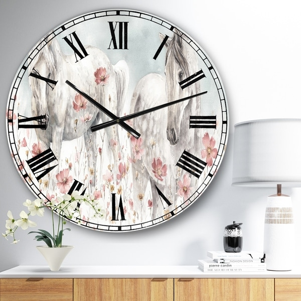 Designart 'watercolors Pink Wild Horses ' Farmhouse Large Wall CLock