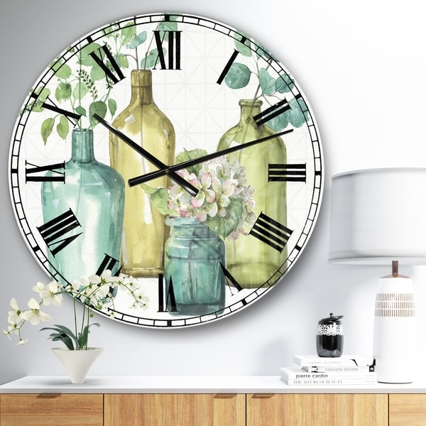 Designart 'Mixed Botanical Green Leaves VIII' Cottage Oversized Wall CLock