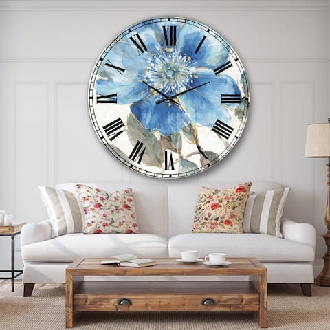 Designart 'Indigold Watercolor Flower I' Farmhouse Large Wall CLock