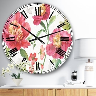 Designart 'Red Spring flowers and Butterfly' Cabin & Lodge Large Wall CLock