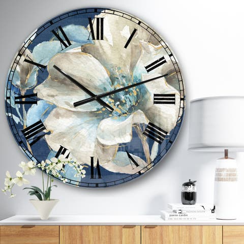Designart 'Indigold Watercolor Flower I' Farmhouse Oversized Wall CLock