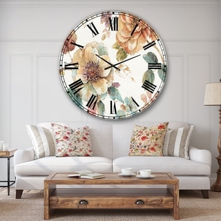 Designart 'Orange and Cream Cottage Flowers Twig' Traditional Large Wall CLock
