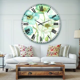 Designart 'Blue Cottage Flowers Drawing II' Farmhouse Large Wall CLock