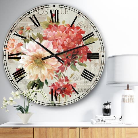 Designart 'Red Painted Flowers on Vintage Postcard I' Traditional Large Wall CLock